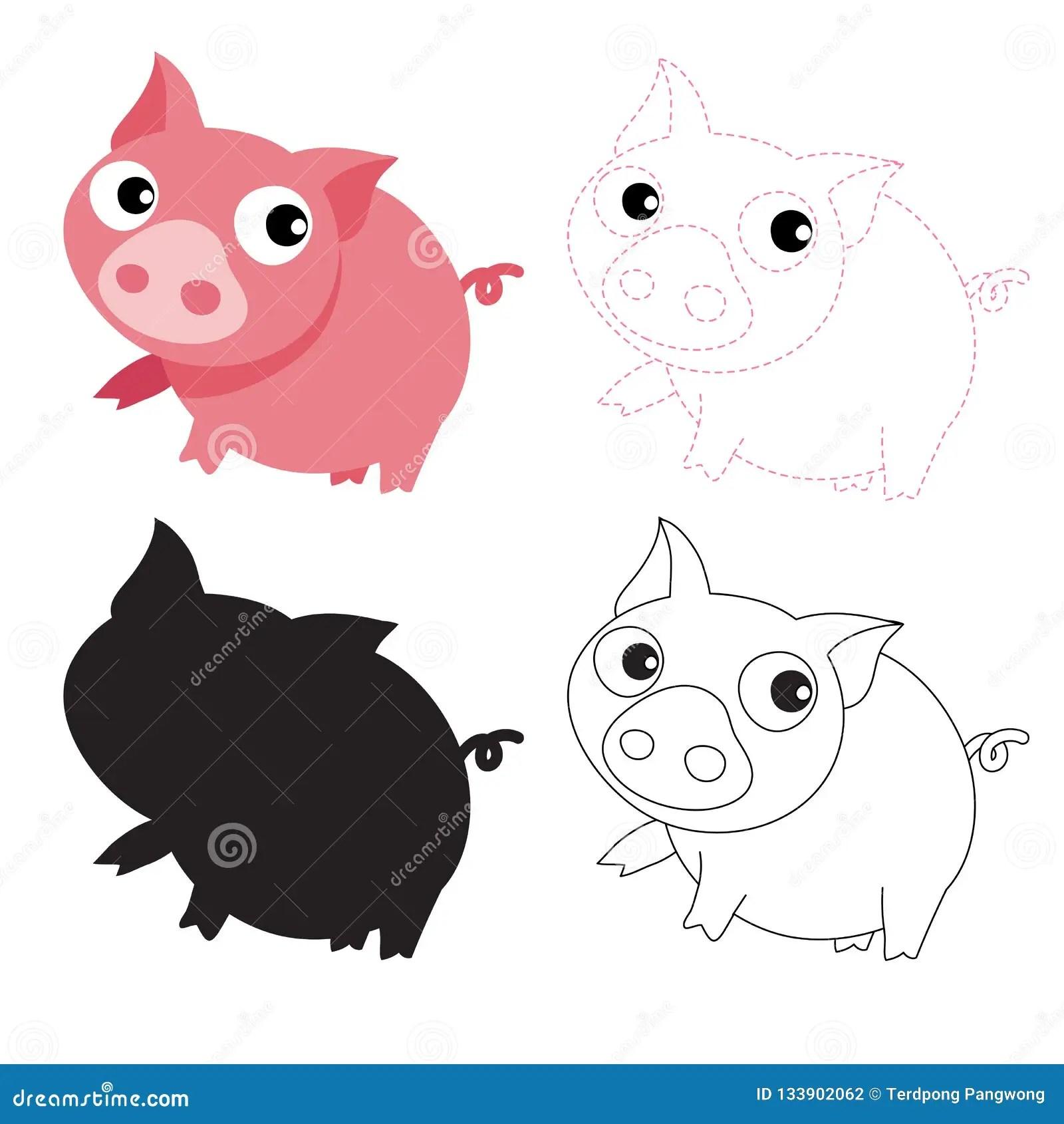 Pig Worksheet Vector Design Stock Vector