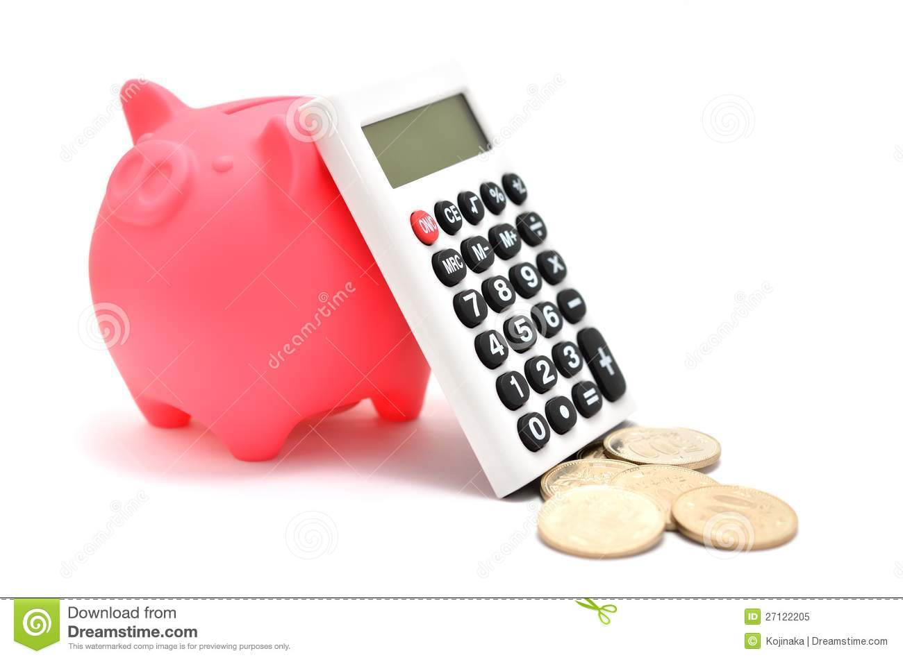 Piggy Bank And Calculator And Japanese Coin Stock Image