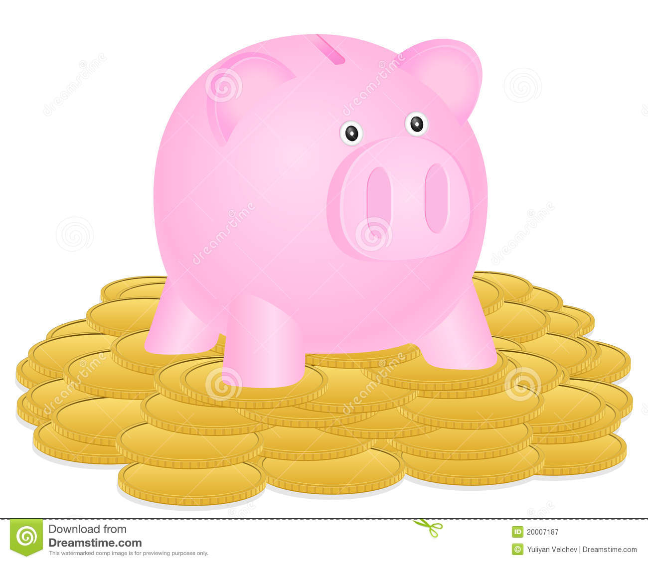 Piggy Bank And Coin Stock Vector Illustration Of Currency