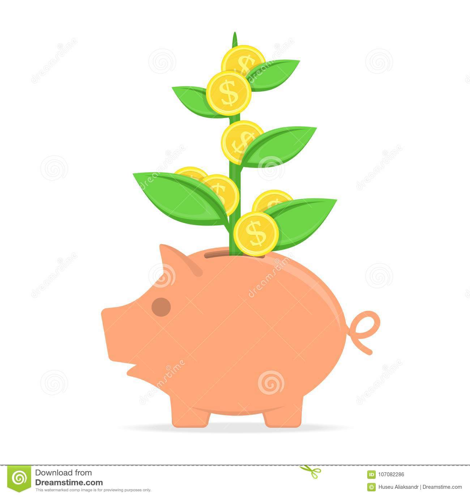 Cartoon Broken Piggy Bank Icon Happy Pig Money Box Without
