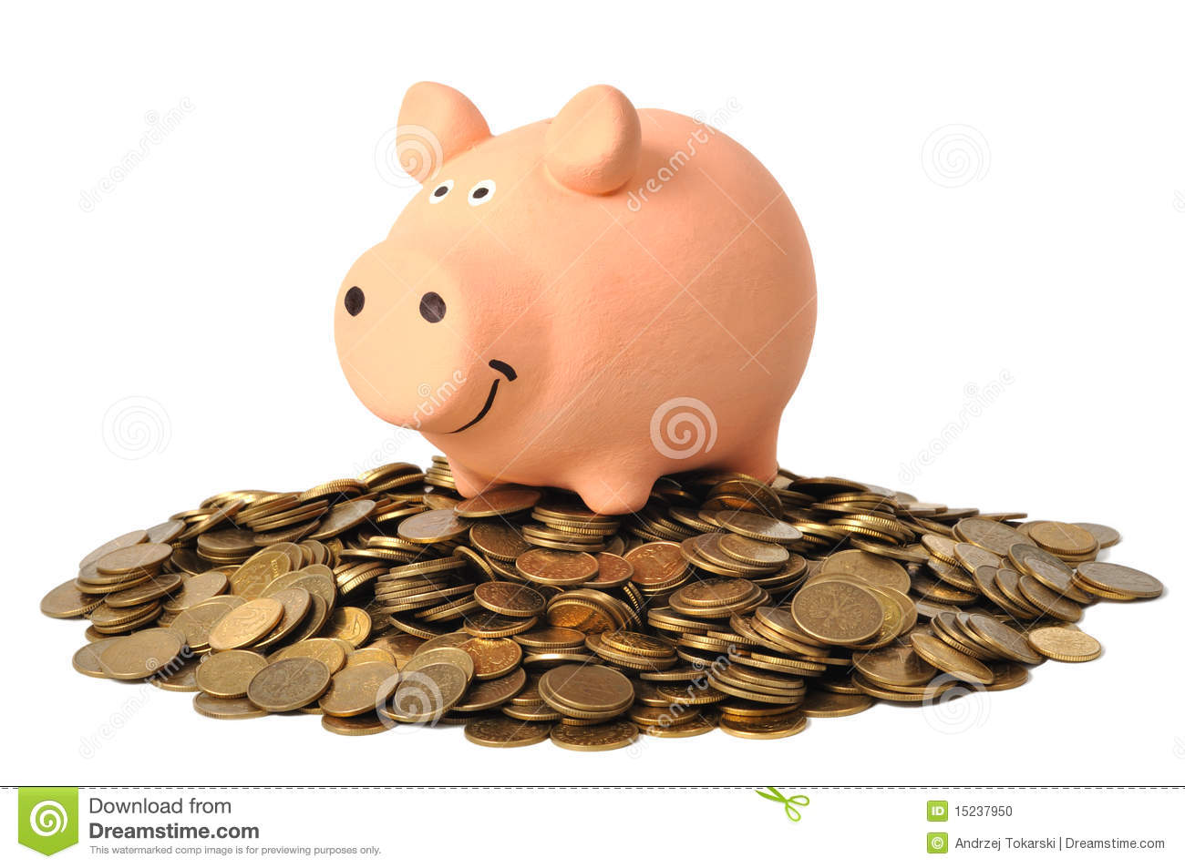 Piggy Bank And Coins Stock Photo Image Of Financial