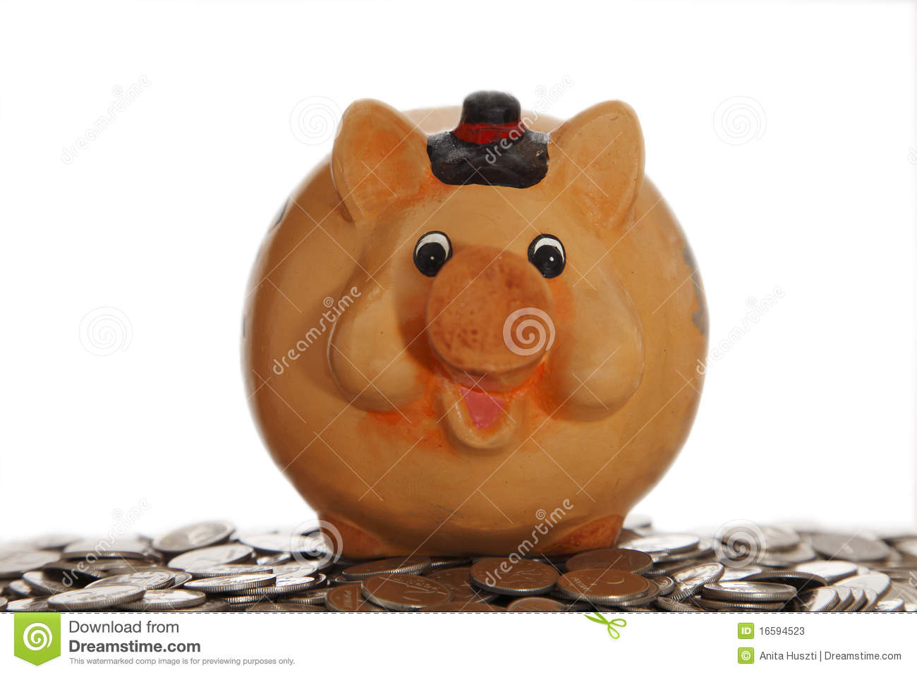 Piggy Bank On Coins Stock Image Image Of Cash Coins
