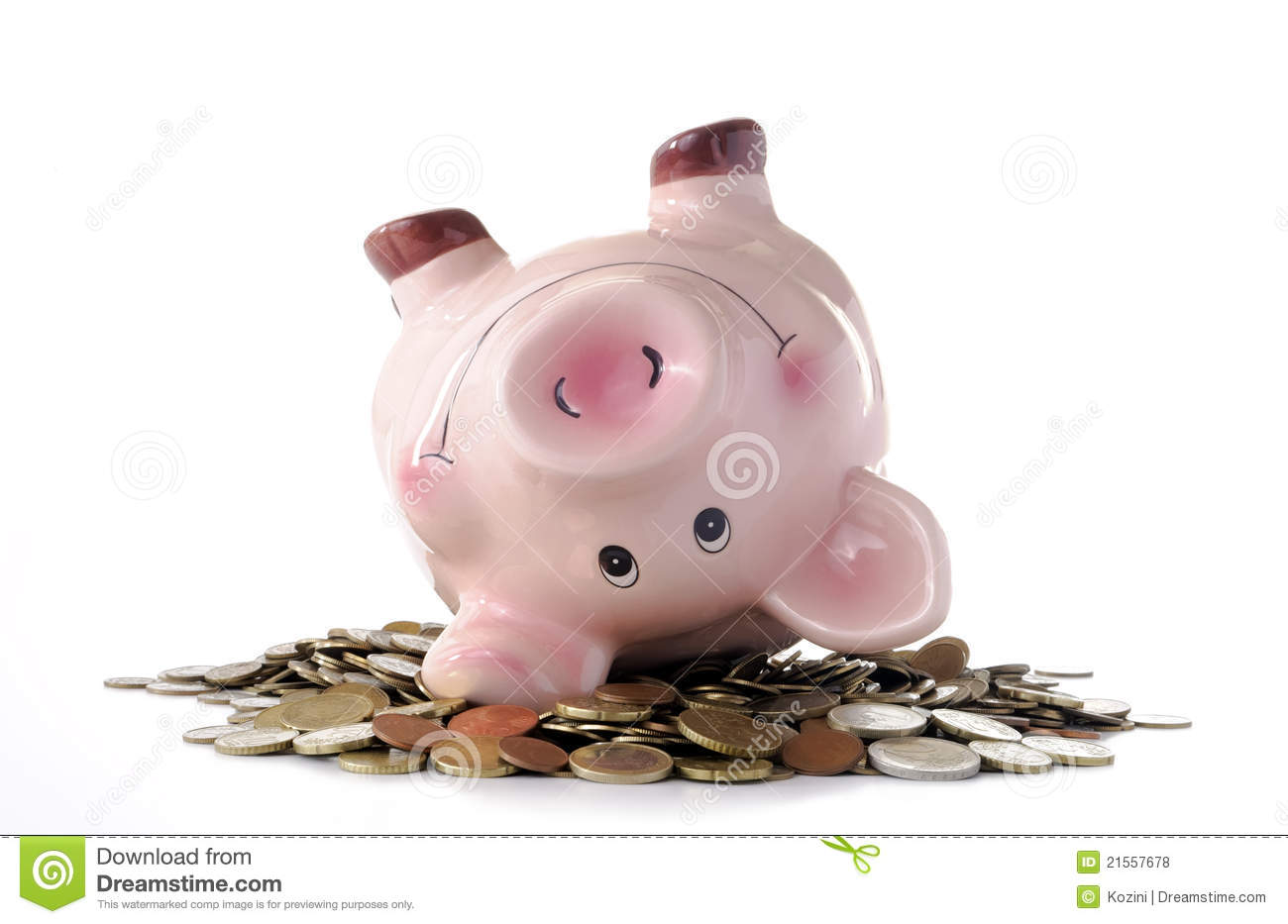 Piggy Bank And Coins Stock Photo Image Of Euro Childhood