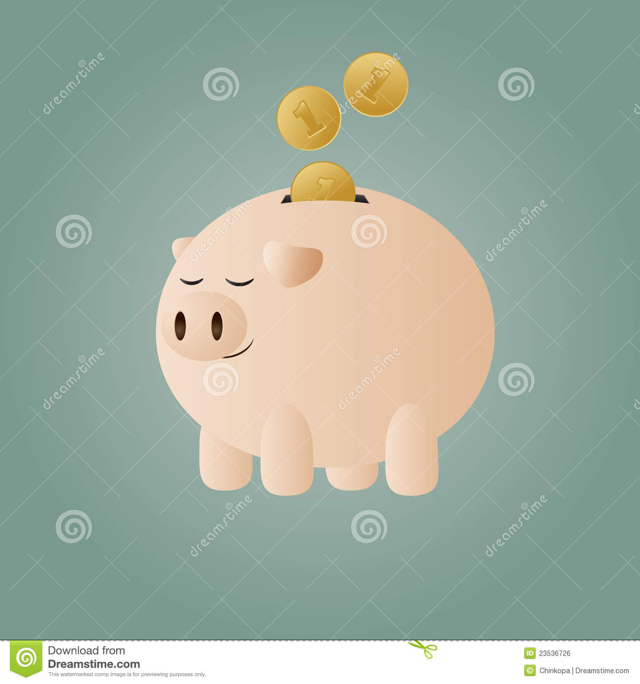Piggy Bank With Coins Stock Vector Illustration Of Golden