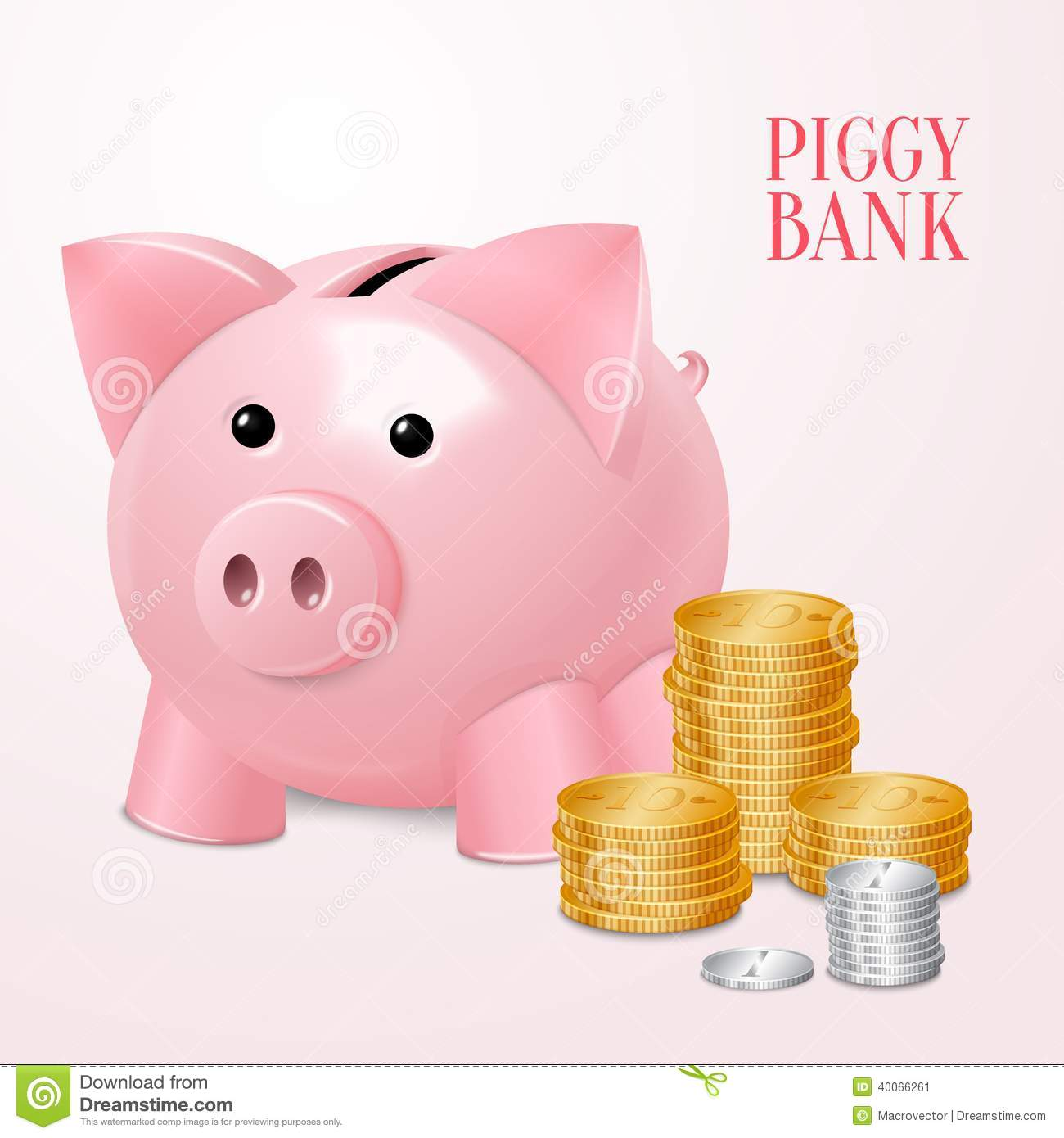 Piggy Bank With Coins Print Stock Vector