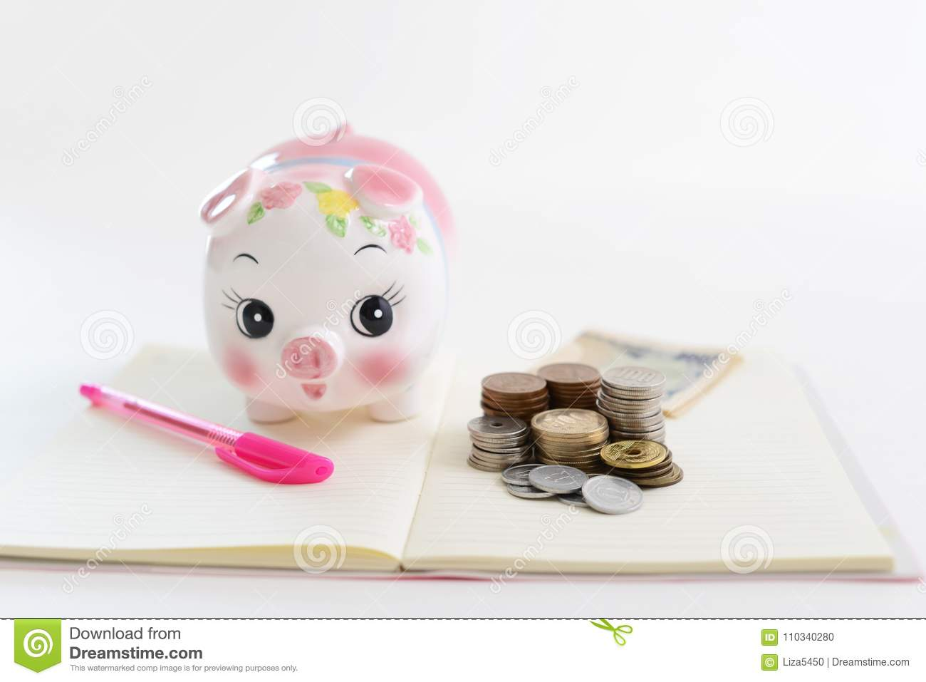 Piggy Bank With Coins Stock Photo Image Of Book Money