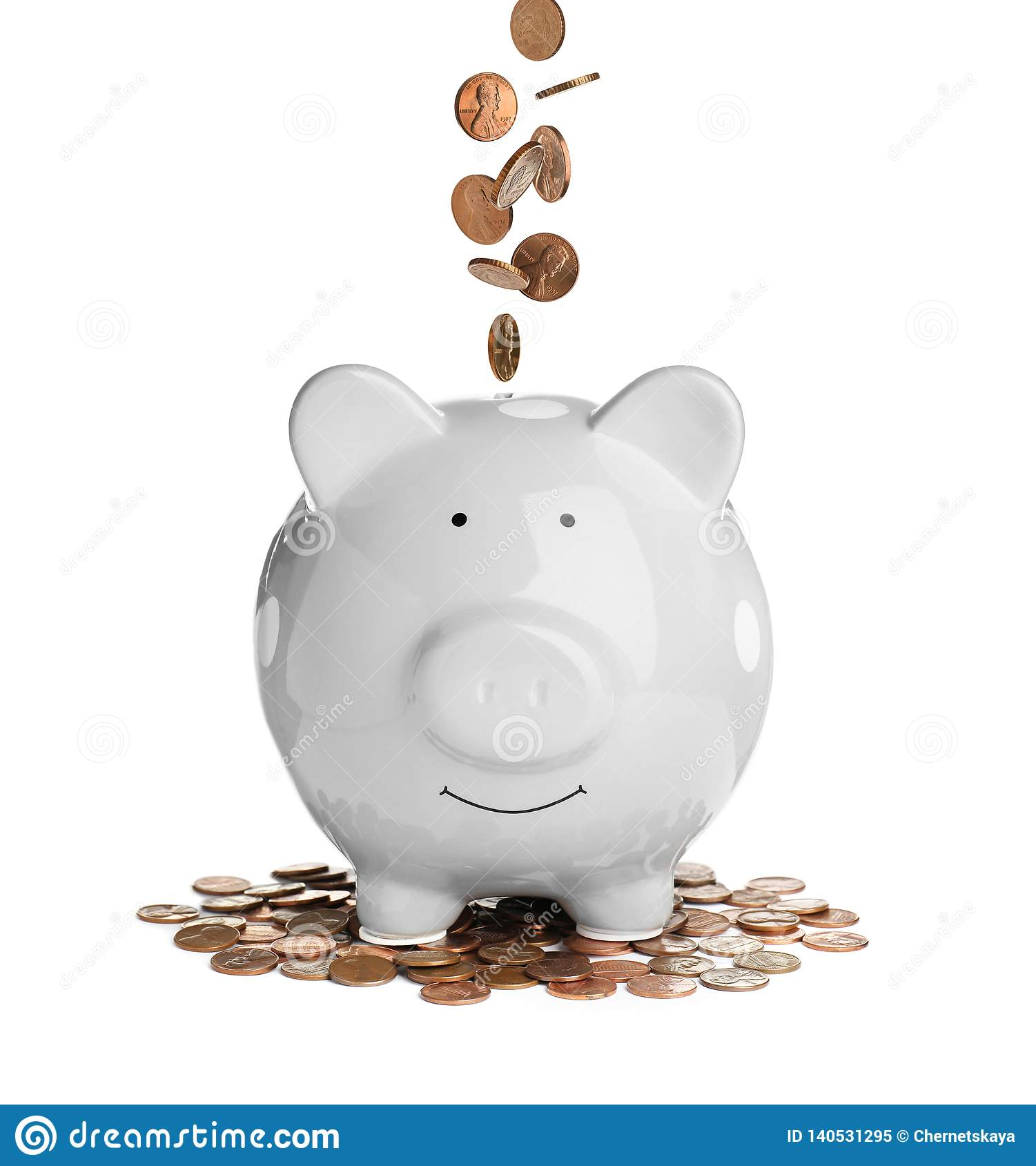 Piggy Bank With Coins Stock Image Image Of Coin Flying