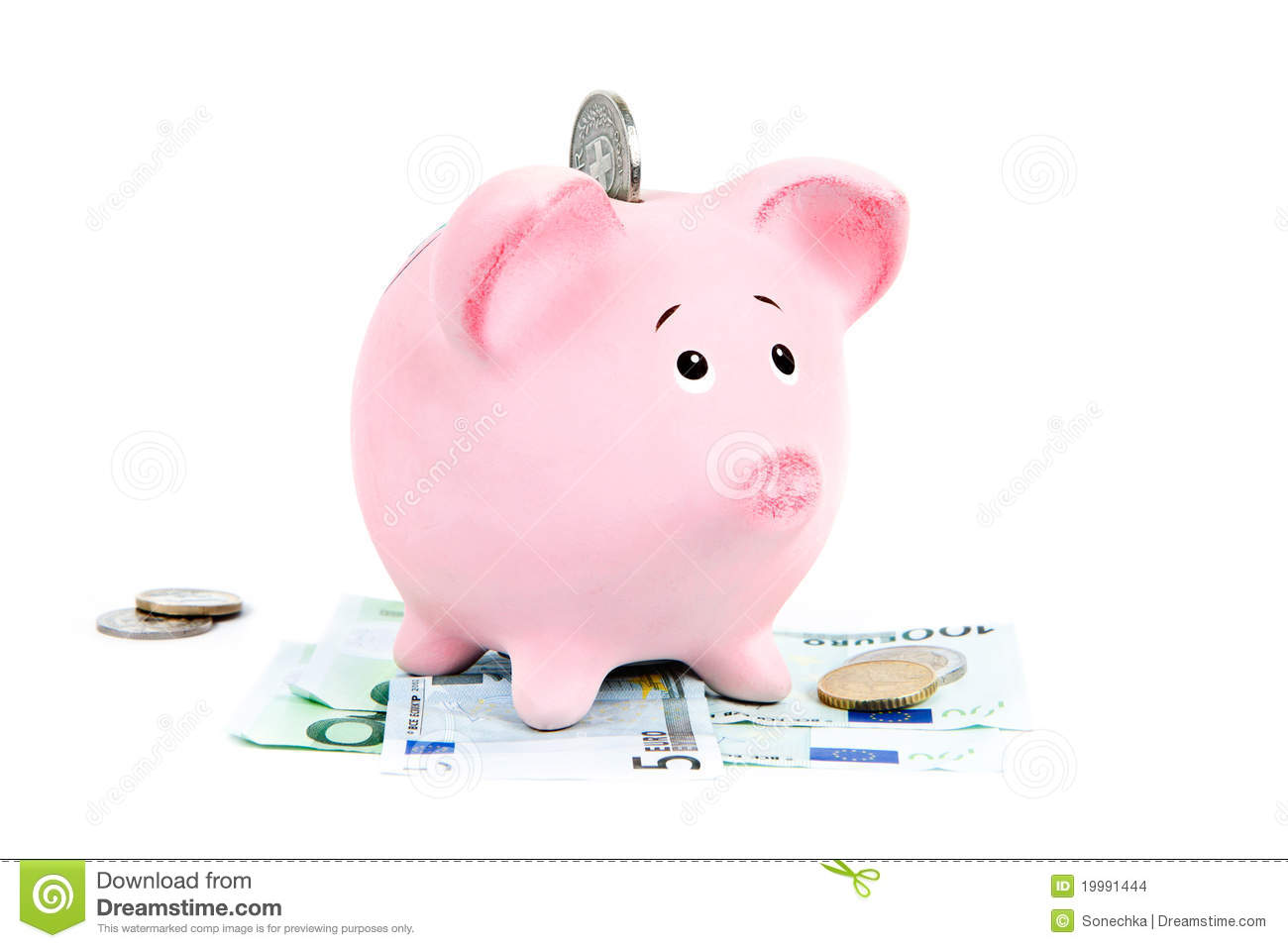 Piggy Bank With Money Stock Photo Image Of Coins