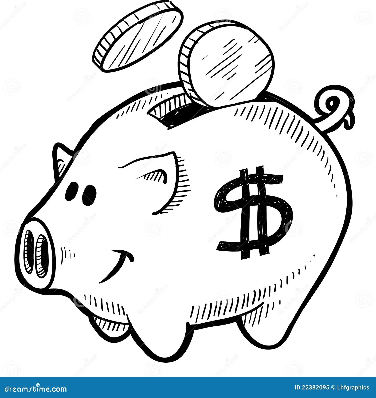 Piggy Bank Sketch Royalty Free Stock Photo