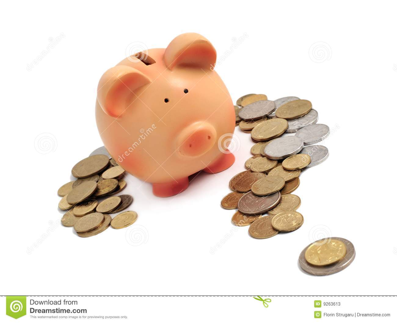 Piggy Bank Surrounded By Coins In A Question Mark Stock
