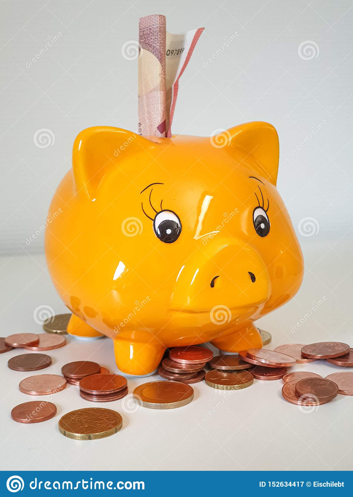 Piggy Money Bank With Coins Stock Image