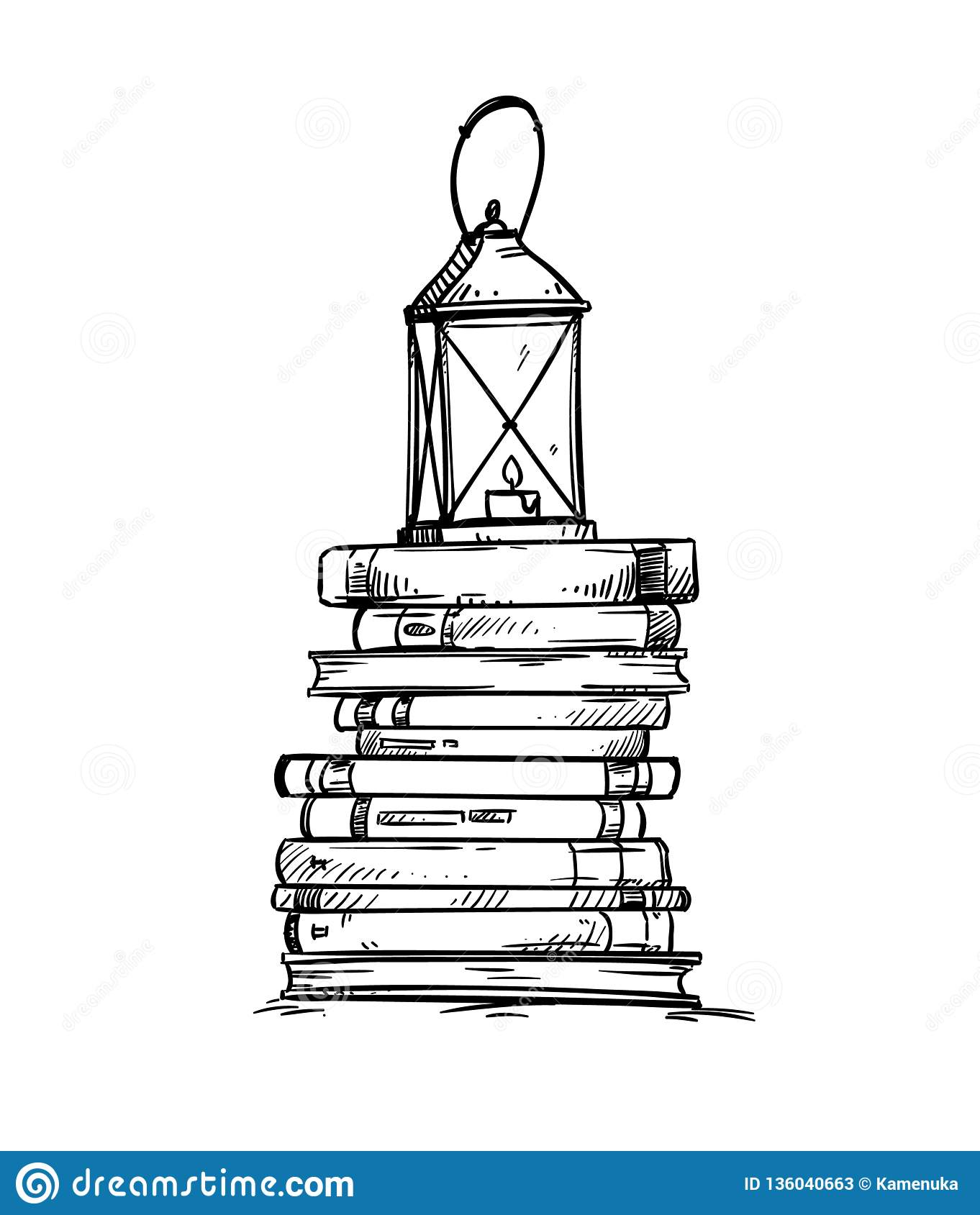 Pile Of Books With Old Lantern On The Top Vector Illustration Stock Vector Illustration Of Drawing Black 136040663