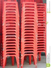 Pile Of Red Plastic Chairs. Royalty Free Stock Photography ...