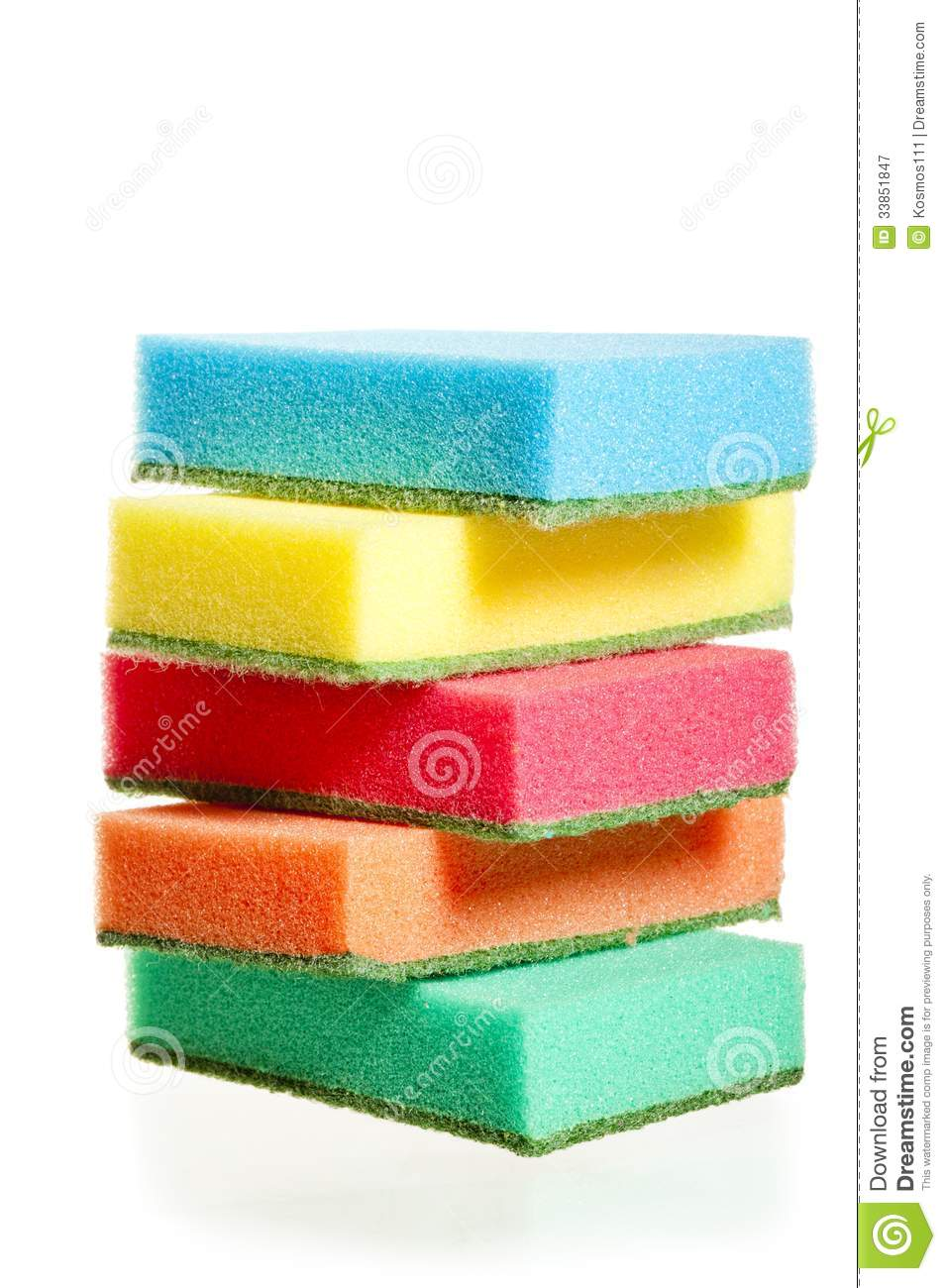 A Pile Of Sponges For Washing Dishes Of Different Colors