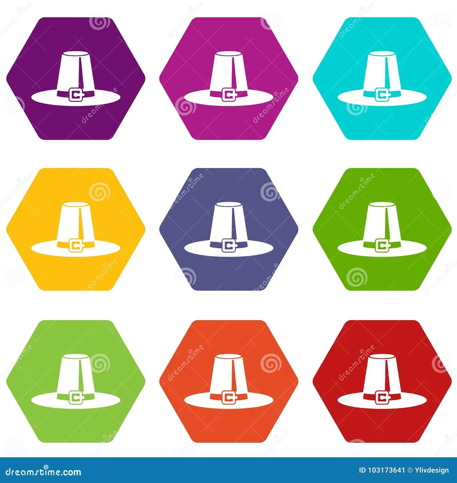 Pilgrim Hat Icon Set Color Hexahedron Stock Vector