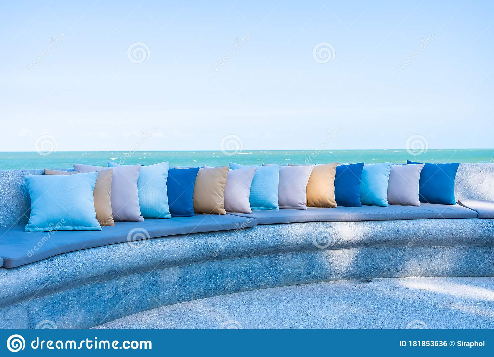 pillow on chair or sofa lounge around outdoor patio with sea ocean beach view stock photo image of pool design 181853636