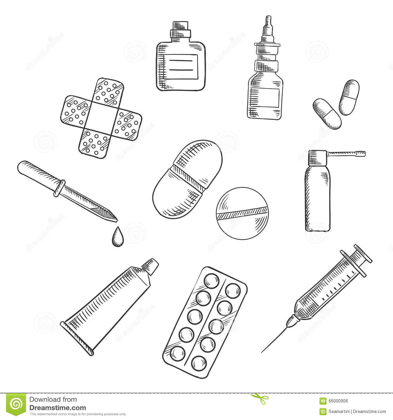 Pills Drugs And Medical Icons Sketches Stock Vector