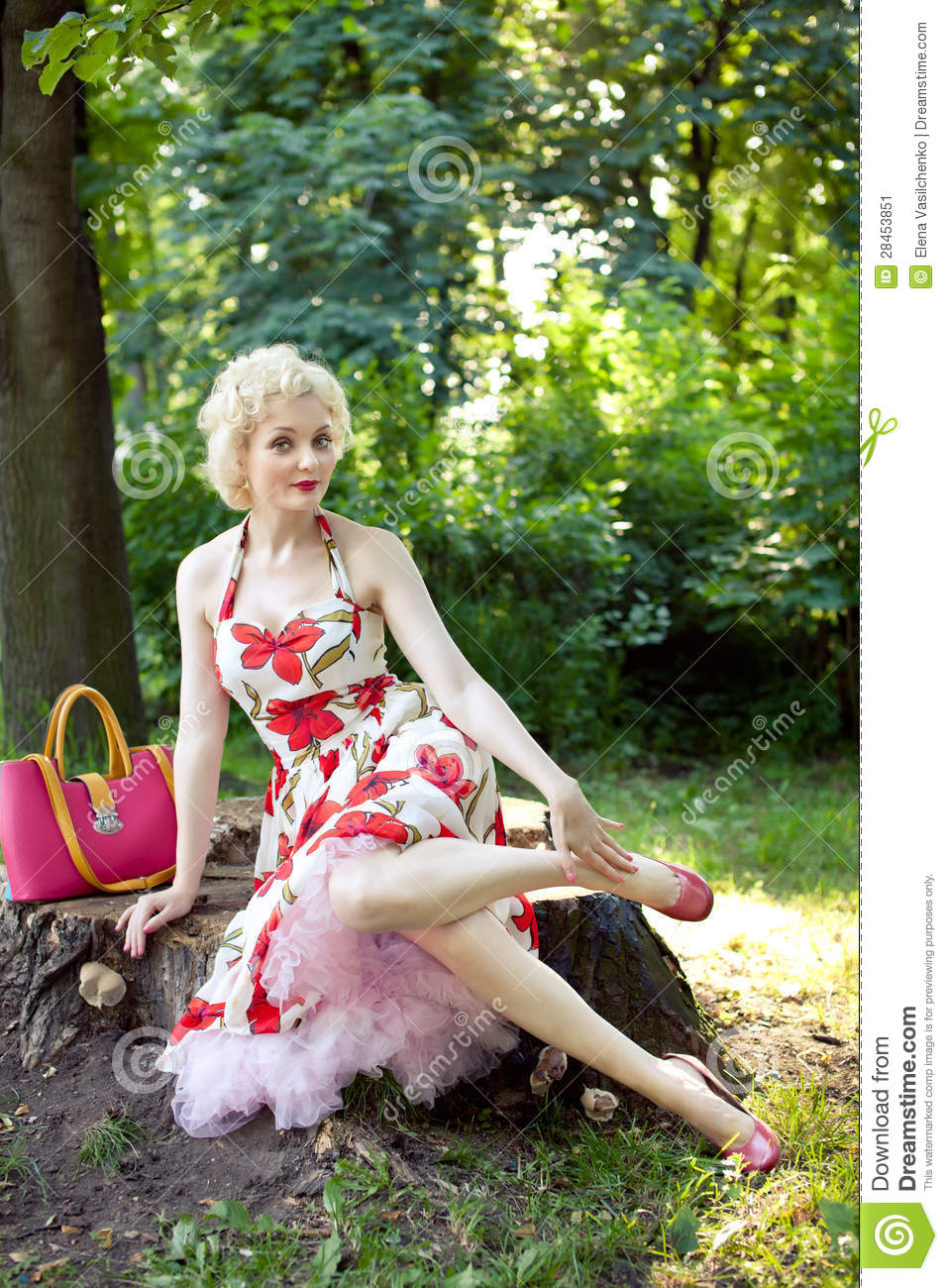 Pin up girl posing in park stock image Image of pinup