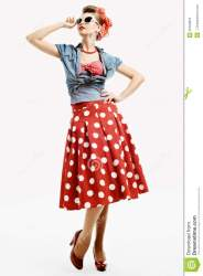 american retro woman young clothes pinup lady representing studio isolated preview