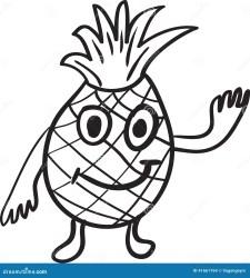 Pineapple cartoon sketch stock vector Illustration of face 41661764