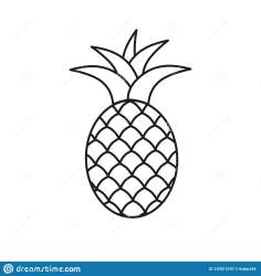 Pineapple Symbol Icon Tropical Exotic Fruit Simple Line Vector Icon Stock Vector Illustration of leaf line: 153913707