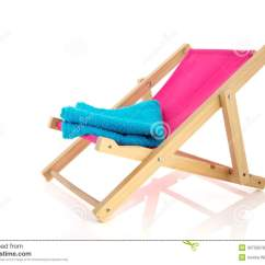Pink Beach Chair Resin Wicker Chairs Lowes With Blue Towel Royalty Free Stock Image