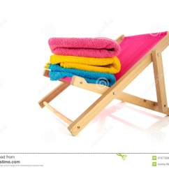 Pink Beach Chair Glider Rocking Cushions Replacement With Towels Stock Photo Image 27077558