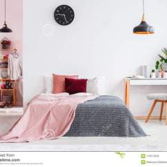 Bedroom Chair With Blanket Upholstered Linen Dining Chairs Pink Interior Stock Image Of Design On Bed Next To Desk And Grey In Black Lamp Clock