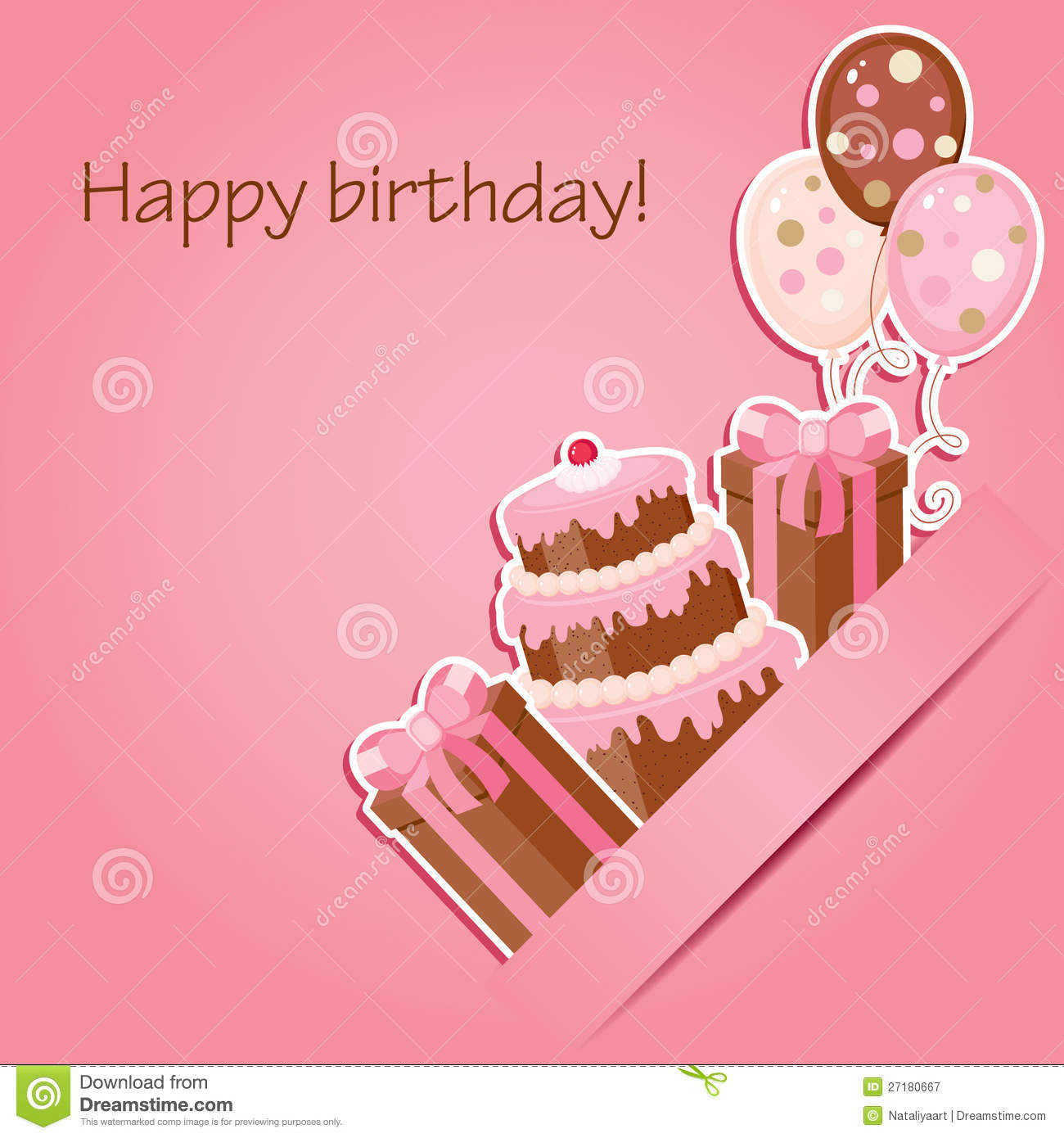 Pink Birthday Card Royalty Free Stock Photography Image