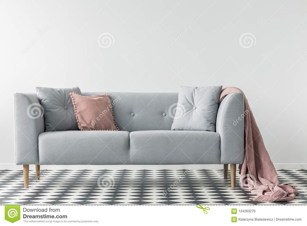 living room pillows floor decorating colour ideas for pink blanket on grey couch with checkered in white interior