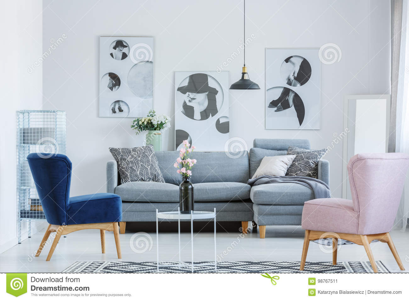 blue chair living room storage ideas built pink and armchair stock image of lamp flat 98767511 armchairs in cozy with grey sofa black vase on small coffee table