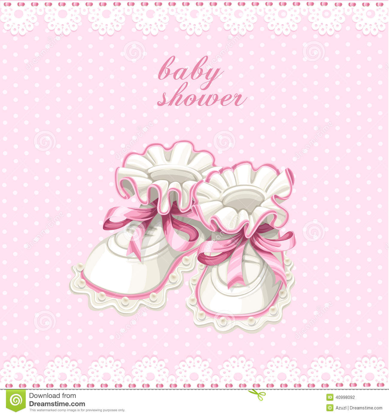 Pink Booties Baby Shower Card Stock Vector Illustration