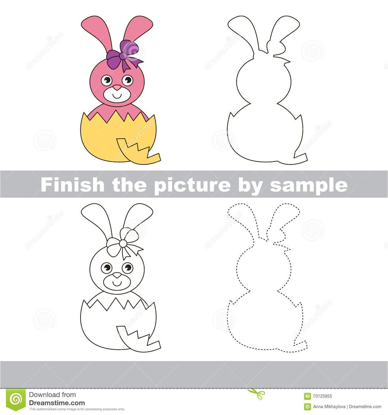 Pink Bunny In Eggshell Drawing Worksheet Stock Vector
