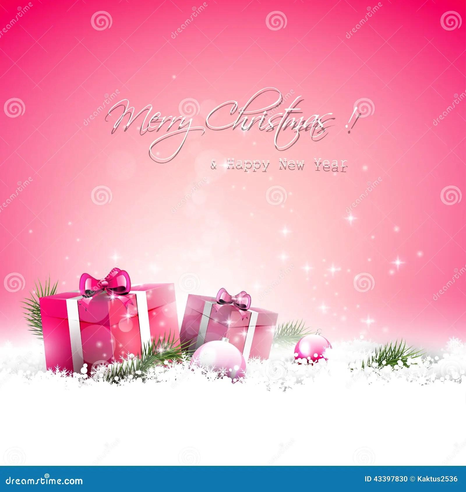 Pink Christmas Greeting Card Stock Photo Image 43397830