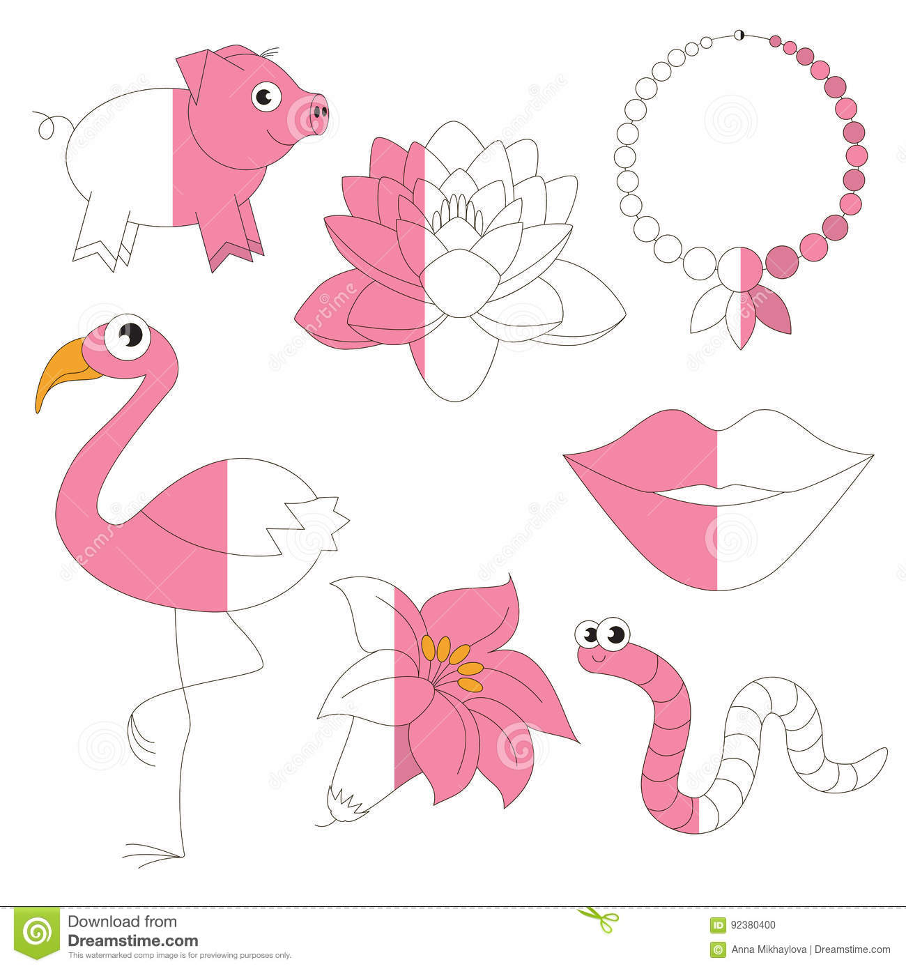 Pink Color Objects The Big Kid Game To Be Colored By Example Half Stock Vector