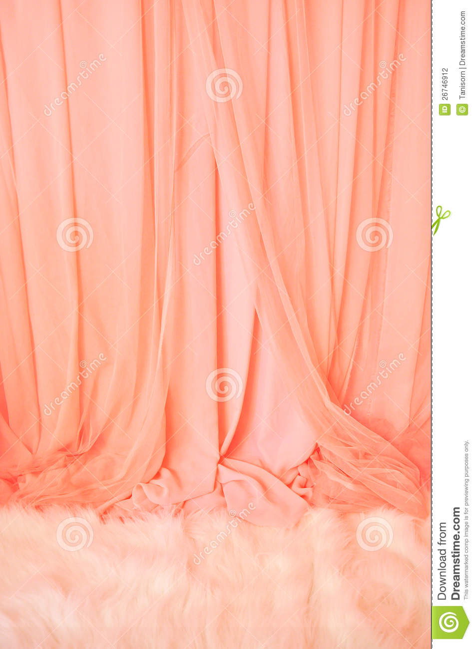 Pink Curtain And White Fur Carpet Stock Photography