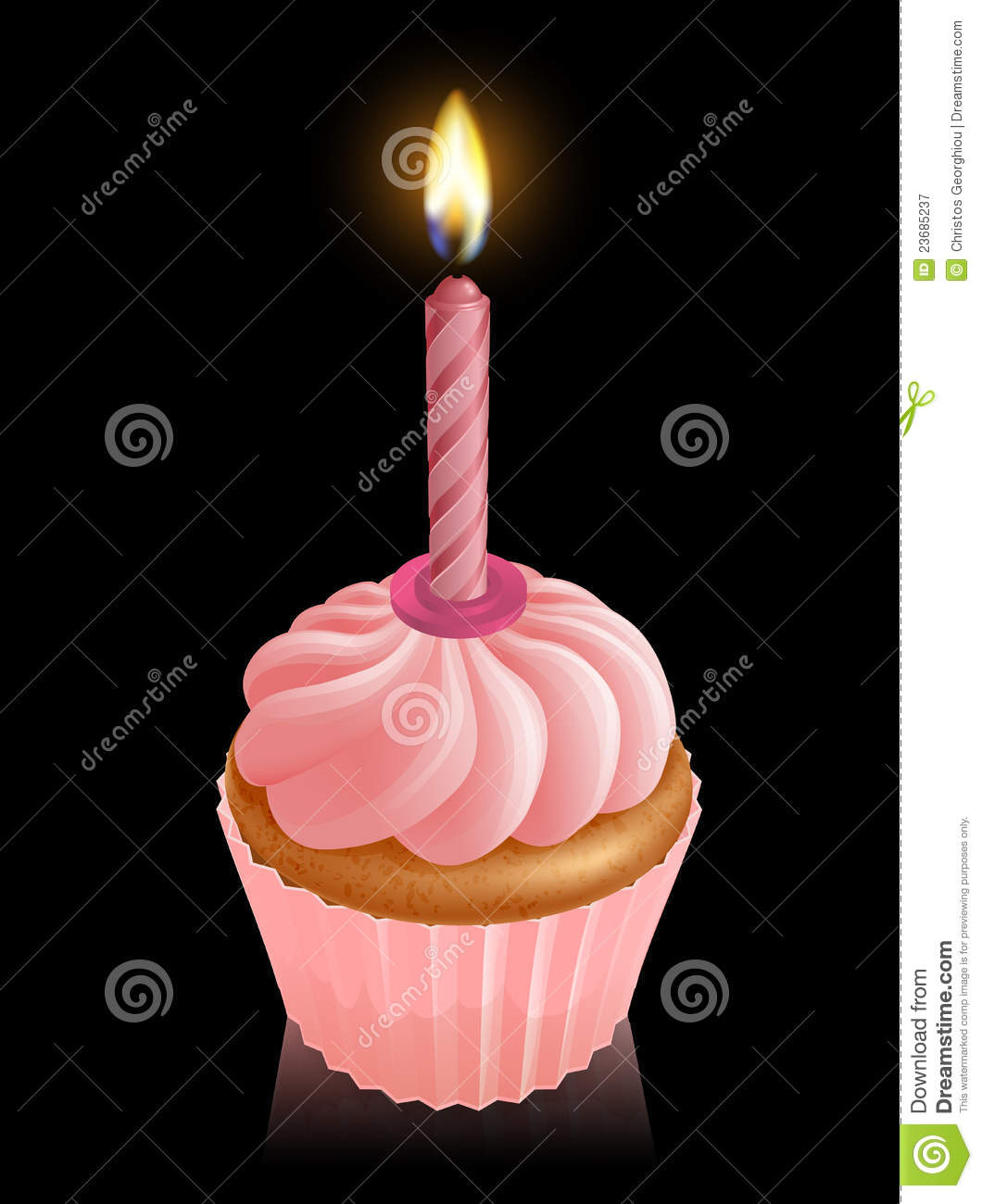 Pink Fairy Cake Cupcake With Birthday Candle Stock Vector