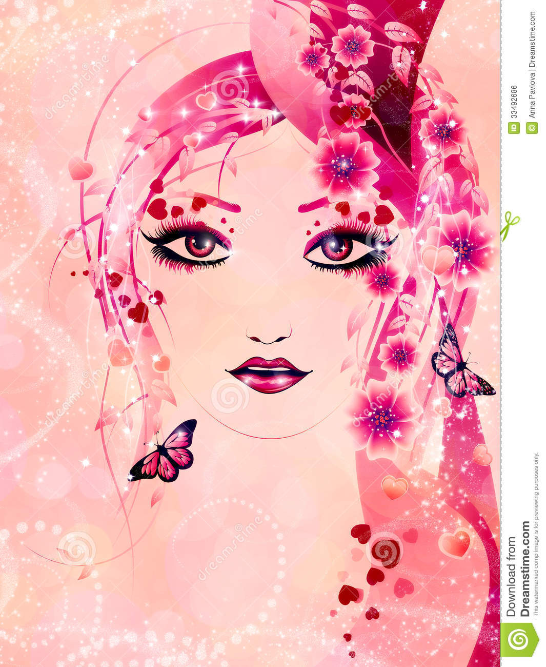 Pink Floral Girl Royalty Free Stock Image Image 33492686