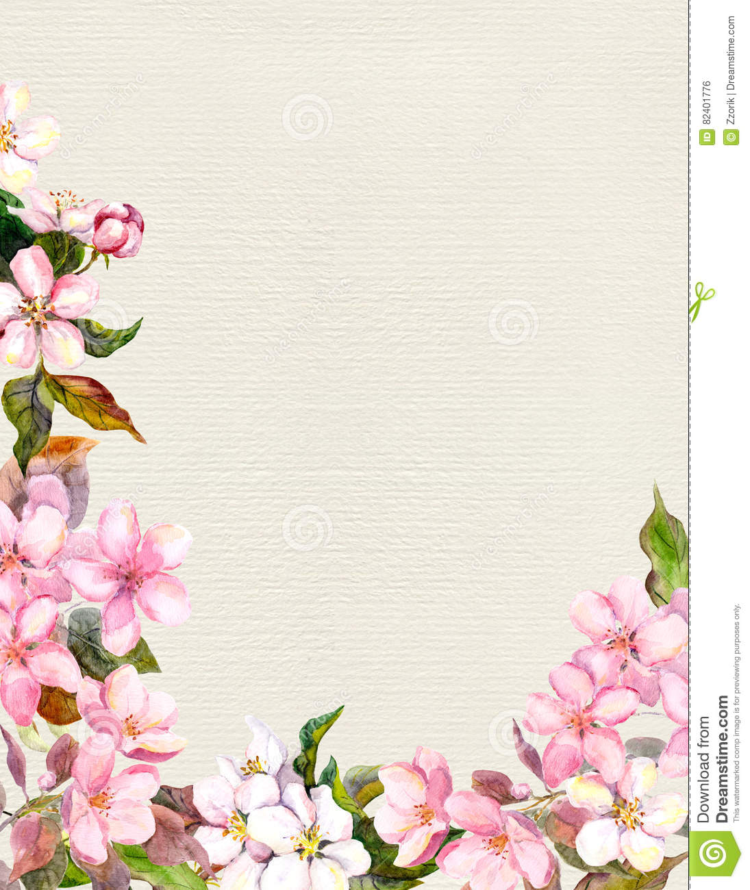 Pink Flowers  Apple Cherry Blossom Floral Frame