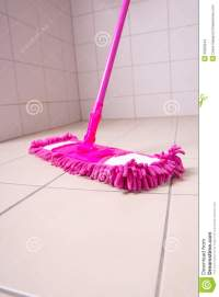 Pink Mop Cleaning Tile Floor In Bathroom Stock Photo ...