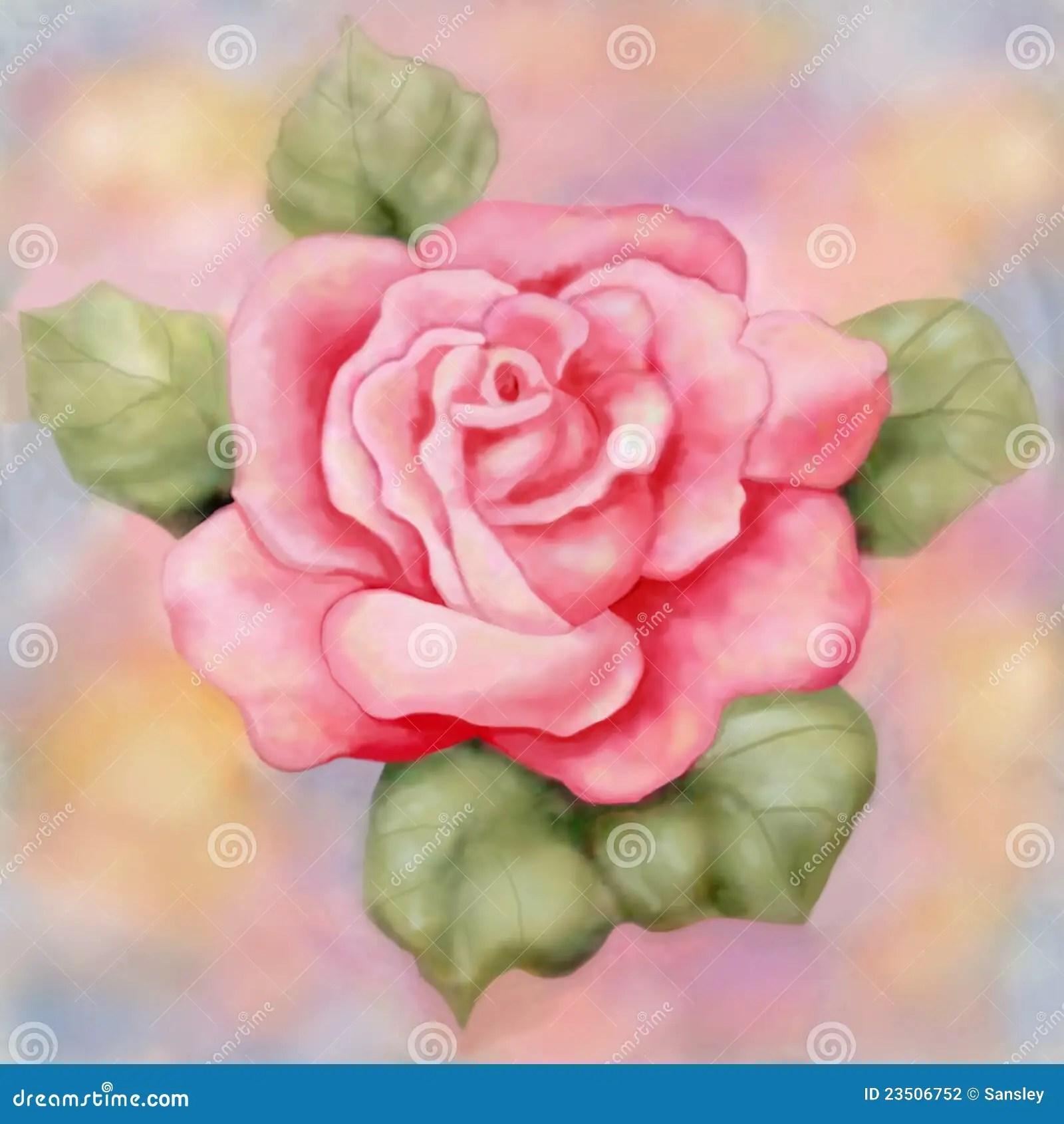 pink rose painting raster