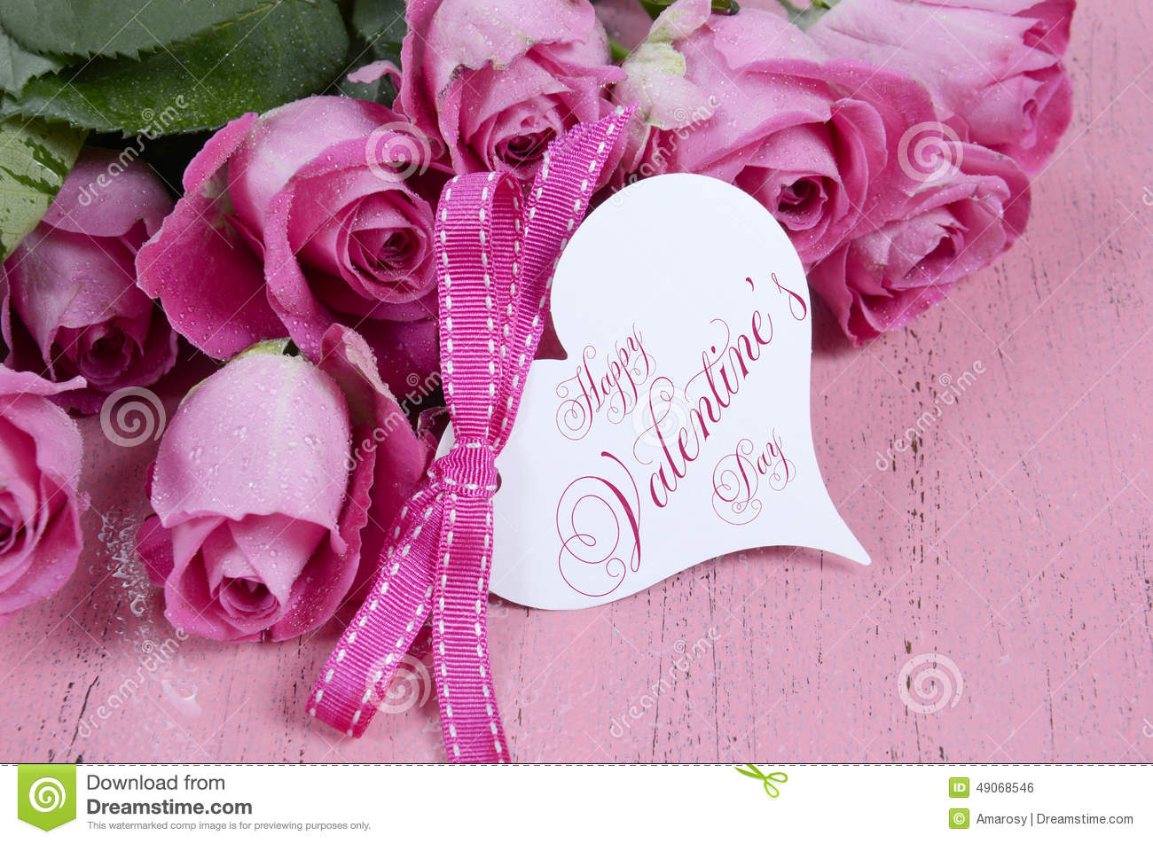 Pink Roses With Happy Valentines Day Heart Shape Gift Tag