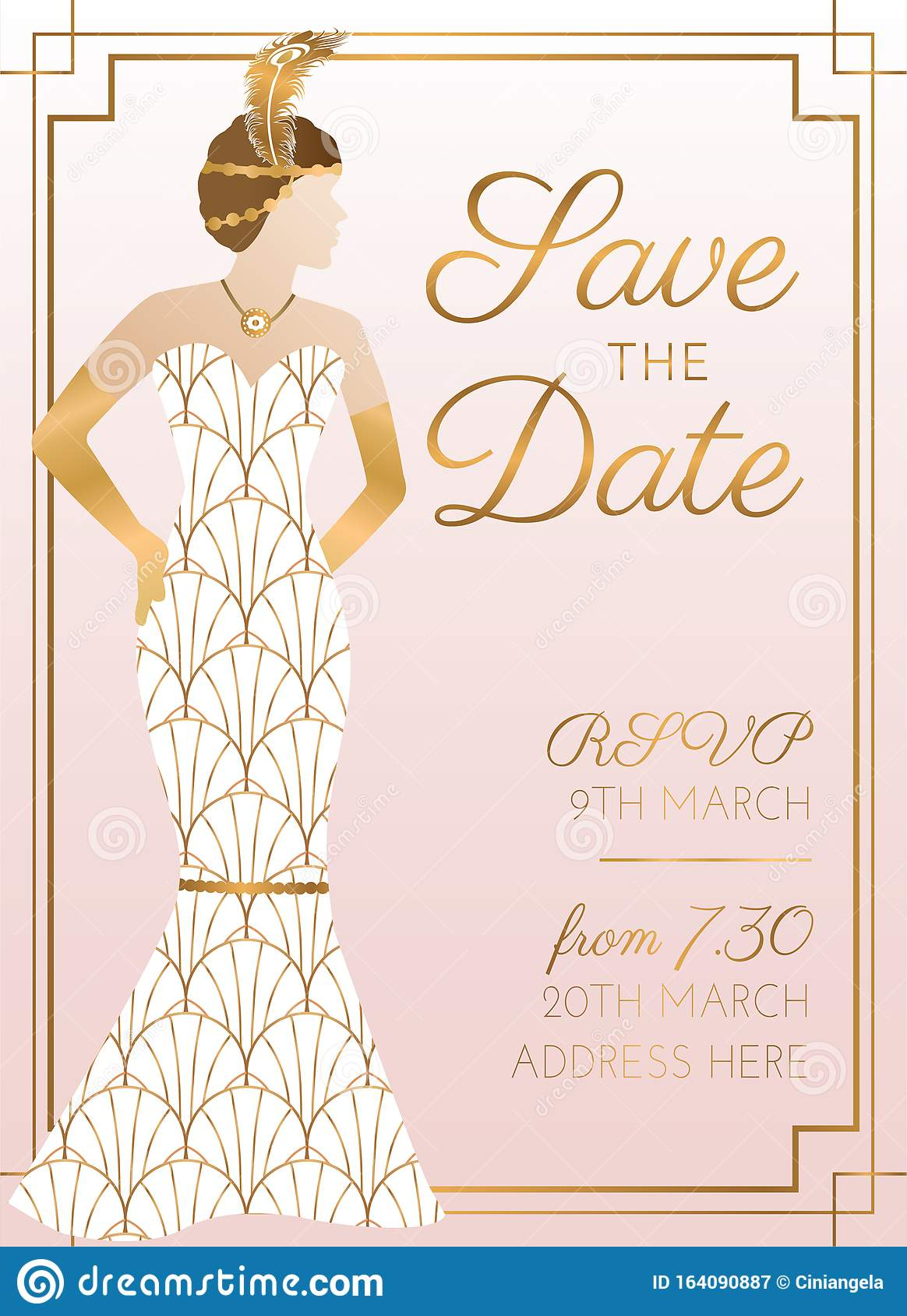 It's a document of ne. Pink Save The Date Wedding Invitation Design With Woman In Bridal Wedding Dress Stock Vector Illustration Of Nice Feather 164090887