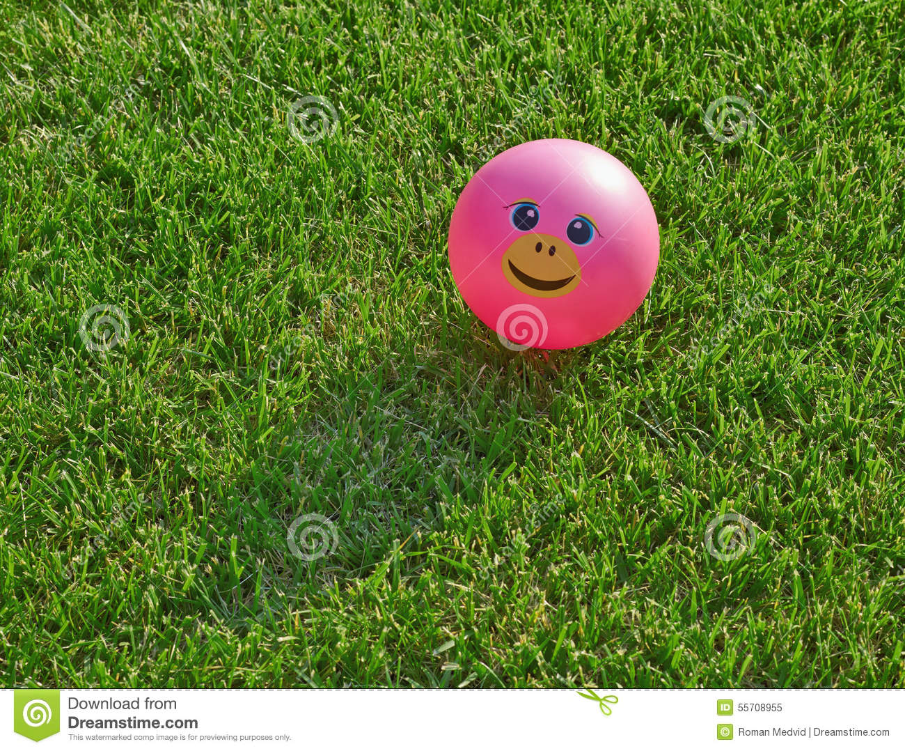 pink smiley ball on green grass stock photo