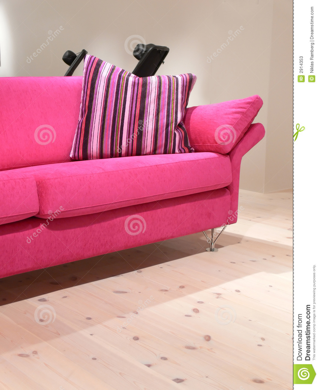 pink throw pillows for sofa black leather with yellow and pillow stock photos image 2914353
