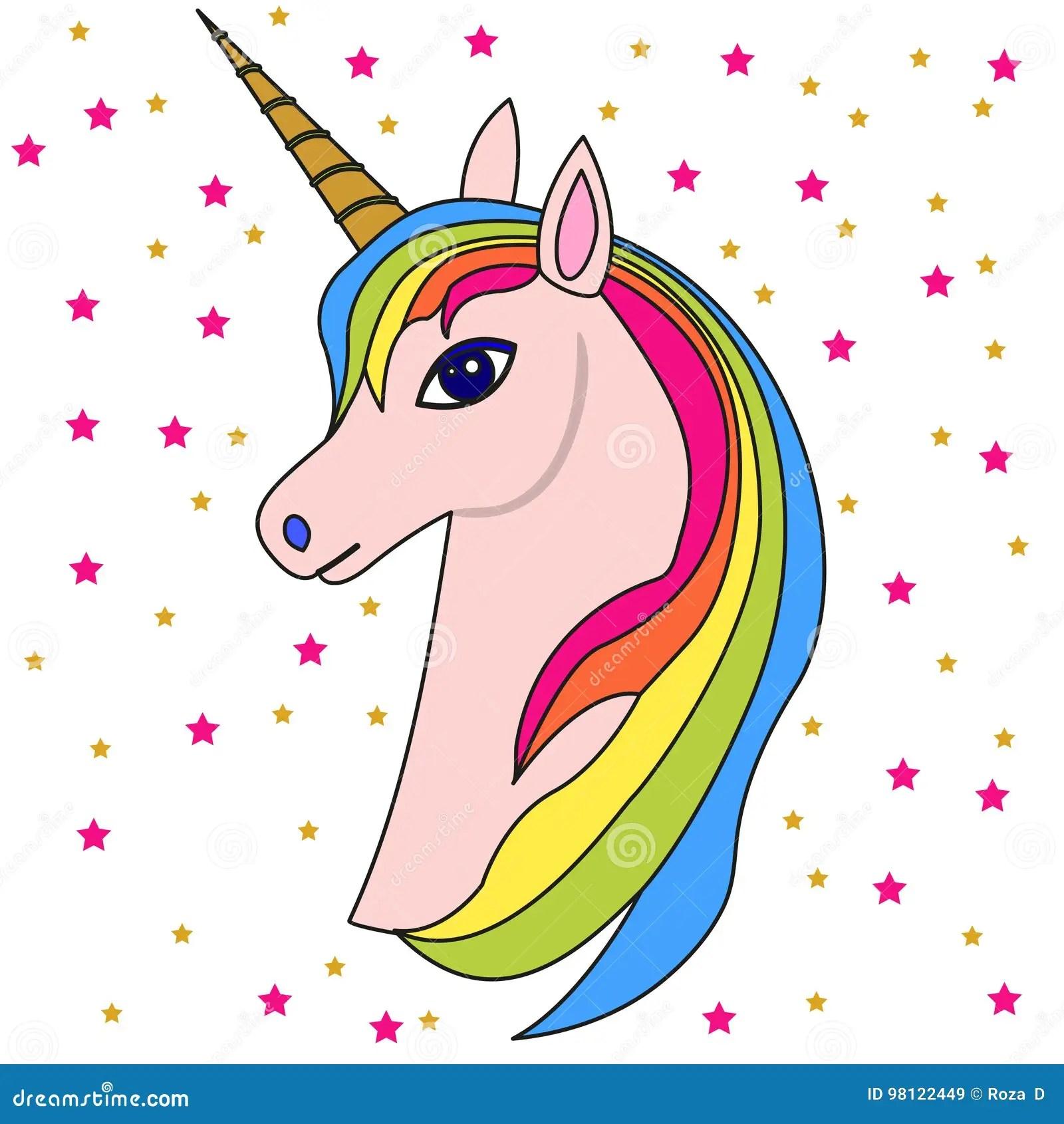 Pink Unicorn Head 2 Stock Vector Illustration Of Horn