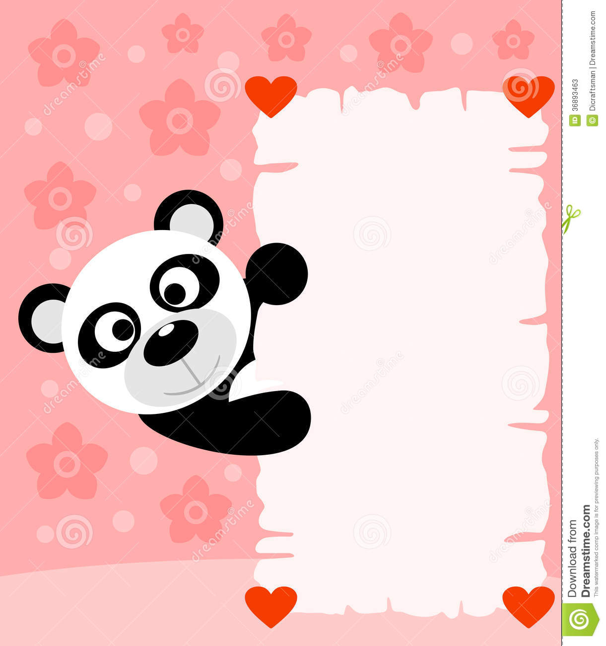 Cute Stylish Child Girl Wallpaper Pink Valentines Day Background With Panda Stock Photos
