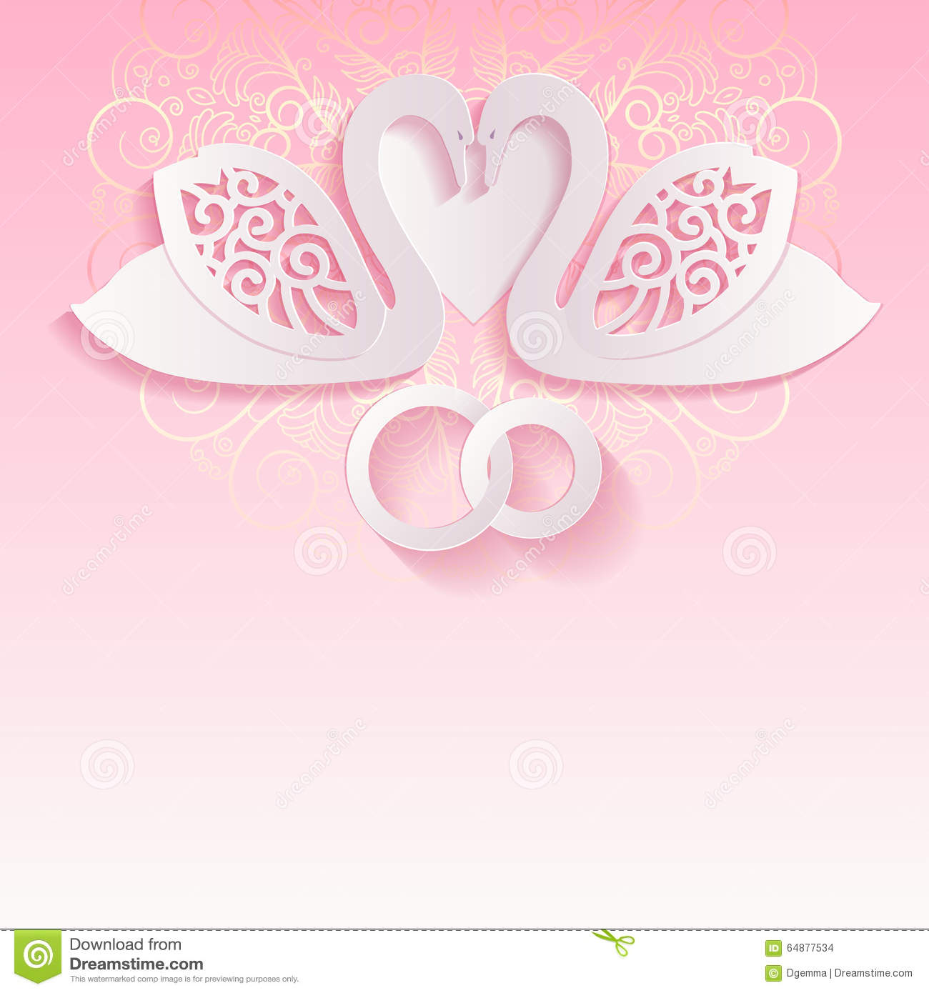 Pink Wedding Card With Swans And Intertwined Wedding Rings