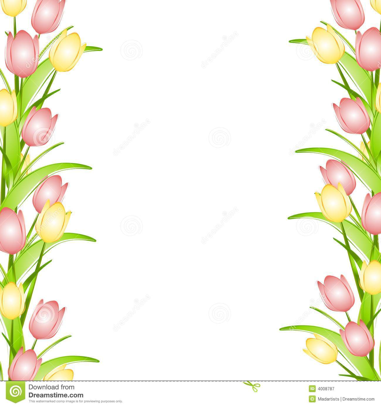 hight resolution of pink yellow spring tulips flower border