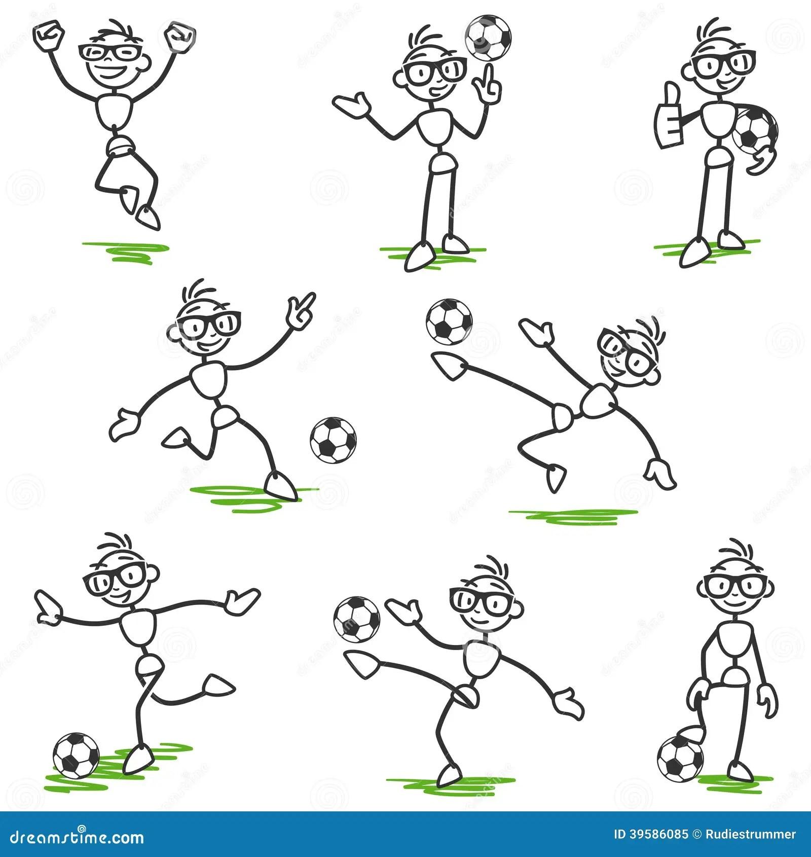 Pinnediagram Stickmanfotbollfotbollsspelare Vektor